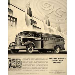1938 Ad General Motors Trucks Trailers GMC 5 Man Cab