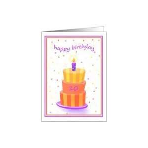 10 Years Old Happy Birthday Stacked Cake Lit Candle Card
