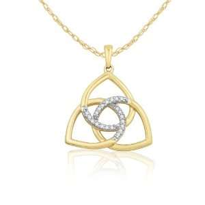10k Two Tone Gold Love Knot Diamond Pendant (0.07 cttw