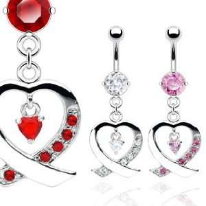 Heart Belly Ring   14G   3/8 Bar Length   Sold Individually Jewelry