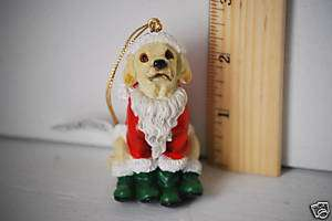 Yellow Lab Dog Christmas Figurine Santa NEW