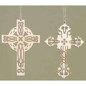 Club Pack of 24 Carved Wooden Religious Cross Christmas Ornaments 3.75