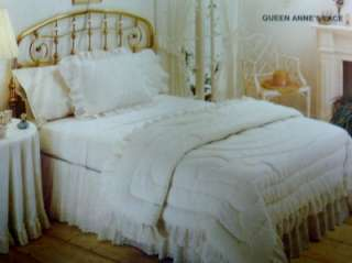 NEW QUEEN ANNES LACE SHABBY CHIC WHITE KING 14 DROP FITTED BED RUFFLE