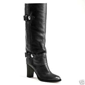 COACH Sage Black Leather Tall Boots Shoes $528 6 7 9 11