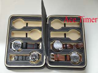 Watch Black Zippered Traveling & Storage Case Box Fits Up to 54mm