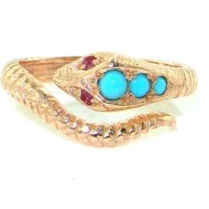 Yellow or Rose Gold) Snake Ring set with Turquoise & Ruby with Snake
