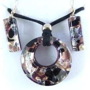 Black Gold Murano Glass Necklace and Earrings Jewelry Set Jewelry