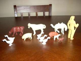 vintage davey crockett 12 plastic farm animals horses cow pig sheep