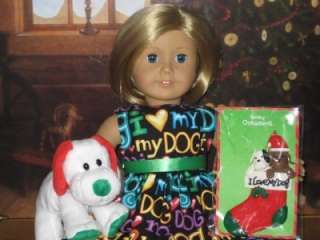 LOVE MY DOG CHRISTMAS DRESS, ORNAMENT & TY DOG Clothes American Girl