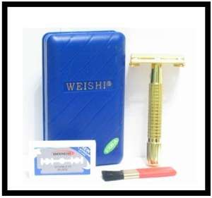 new weishi gold plated tto twist to open safety razor made of cuprum