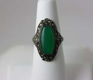 Vintage Art Deco STERLING SILVER Chryophase Marcasite Ring