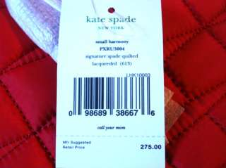 NWT Kate Spade Quilted Signature Spade Small Harmony Handbag Red $275