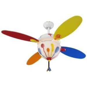 Monte Carlo Balloon Ceiling FanR104057, Finish White, Blades Red