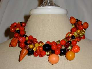 Vtg Hattie Carnegie Bakelite Fruit Necklace Banananas +