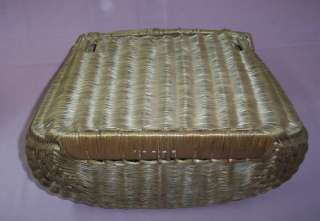 ANTIQUE FISHING CREEL Basket FINE TIGHT WEAVE LARGE