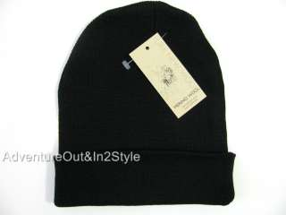NEW Mens Merino Wool Hat Watch Cap Beanie  BLACK Retails $45.00