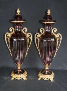 Pair French Empire Crystal Cut Glass Vases Urns