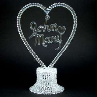 Personalized Hand Blown Glass Wedding Cake Top Topper