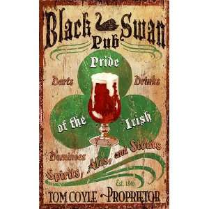 Customizable Black Swan Irish Pub Vintage Style Wooden