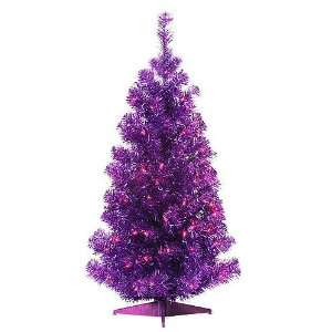 Purple, Pre Lit Metallic Tinsel Pine Christmas Tree