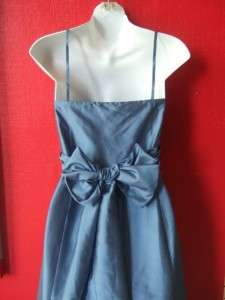 ANN TAYLOR blue SILK formal gown full length PARTY dress BOW BACK $298