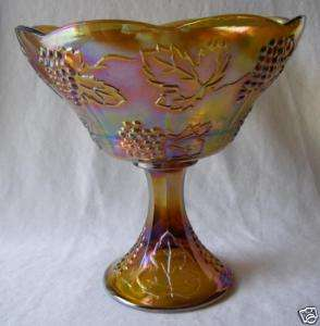 INDIANA IRIDESCENT CARNIVAL HARVEST GRAPE WEDDING BOWL