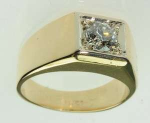 MENS 14K SOLID YELLOW GOLD DIAMOND SOLITAIRE BAND ESTATE RING J189214