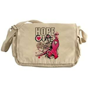 Khaki Messenger Bag Cancer Hope for a Cure   Pink Ribbon