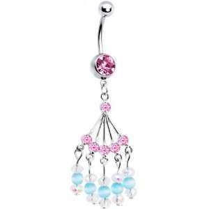 Pink Gem Natasha Chandelier Belly Ring Jewelry