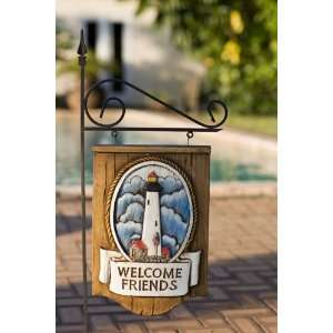 Welcome Friends Lighthouse with yard stake Patio, Lawn