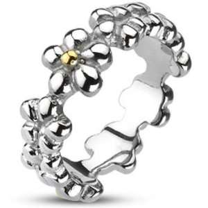 Size 5  Spikes Womens Stainless Steel 7mm Multi Flower Band Gold IP