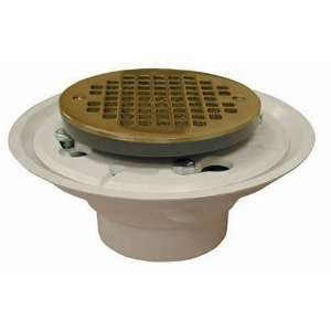 D50 133 Cast with Ring Shower Stall or Floor Drain, Polished Brass