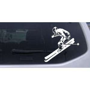 Skier Sports Car Window Wall Laptop Decal Sticker    White