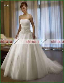 2012 Hot Sell Strapless Prom Gown Wedding Dress White/Ivory Bridal