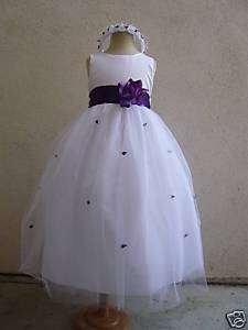 FS1 WHITE PURPLE ROSEBUD STYLE FLOWER GIRL DRESS