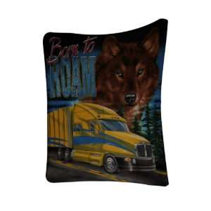 with Yellow Semi Truck Cab Soft Polar Fleece Blanket