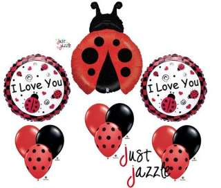 Ladybug Red Black I Love You Birthday Baby Shower Balloon Party Set