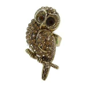 Antique Rhinestone Owl Ring Jewelry