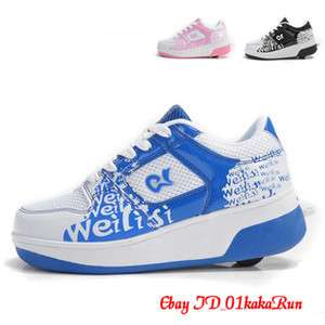 Girls Boys Trainers High Quality PU Pulley Shoes Big Size UK 1 UK 7