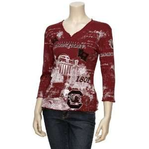 NCAA South Carolina Gamecocks Ladies Garnet Ruffle V neck