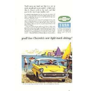 1957 Ad Chevy Bel Air Sport Coupe Yellow at Docks Original