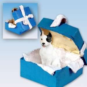 Pit Bull Terrier Blue Gift Box Dog Ornament   White