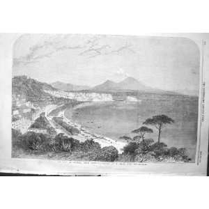 1856 VIEW BAY NAPLES ITALY POSILIPO HOUSES MOUNTAINS