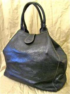 Vera Pelle Italy Patent Leather Handbag Purse Hobo Tote Shopper Large