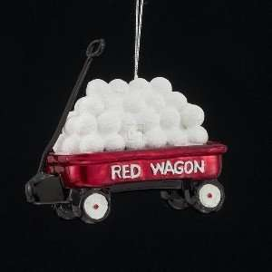 NOBLE GEMS GLASS RED WAGON W/SNOWBALLS ORNAMENT
