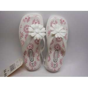 Flower Power Girls Flip Flops Size 9 Color WHITE