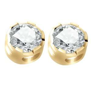 0.40 CT Natural Diamond 14K Yellow Gold Machined Stud Earrings