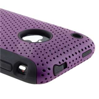 Silicone Rubber Gel Soft/Purple Meshed Hard Case Cover For iPhone