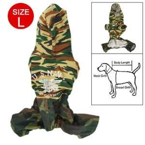 Como Pet Dog Costume Sz L Camouflage Four legged Jumpsuit