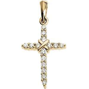 Small 14k Yellow Gold Diamond Cross Pendant (.225 Cttw, GH
